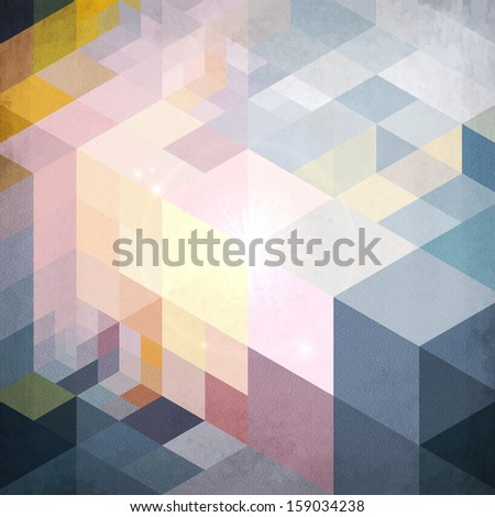 Abstract geometry pattern blue grunge background - stock photo