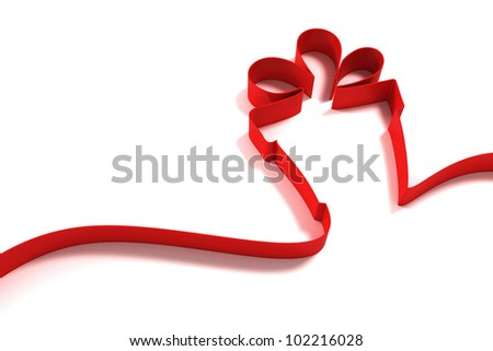 abstract gift from ribbons isolated on white background - stock photo