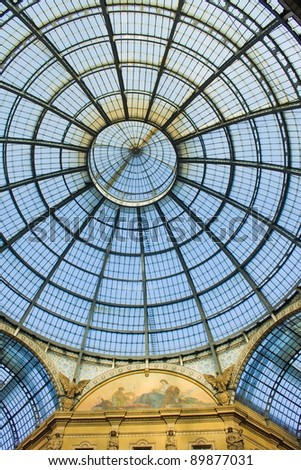 abstract glass dome of interior of  Galleria Vittorio Emanuele II shoping gallery, Milan (Milano), Italy