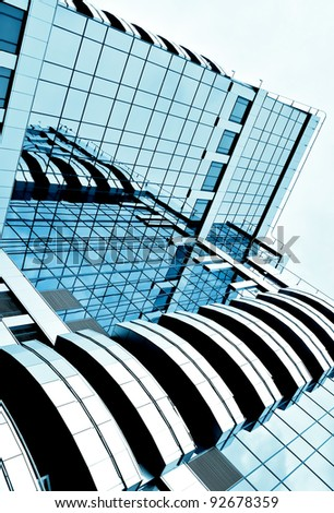 abstract glass side of business building - stock photo