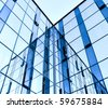 abstract glass wall of business building - stock photo