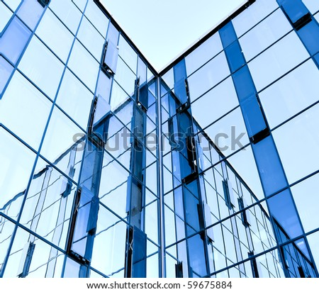 abstract glass wall of business building