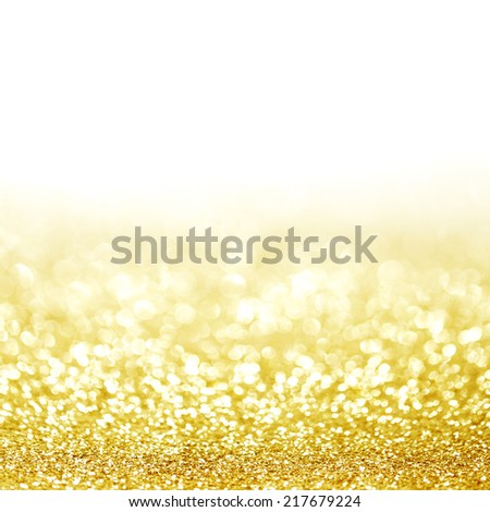 Abstract glitter bokeh holiday golden background - stock photo