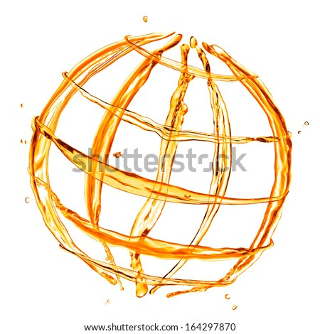 abstract globe from orange water splashes isolated on white - stock photo