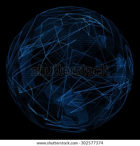 Abstract globe glow blue line. Spherical 3d illustration - stock photo