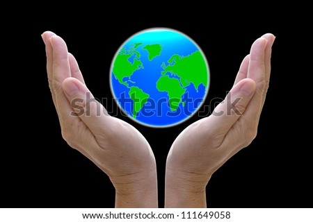 abstract globe in the hand, protect our world, save the earth