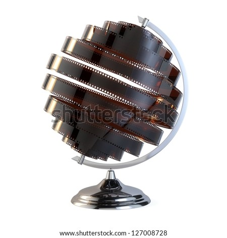 Abstract Globe With A Film Around It (Isolated On White) - stock photo