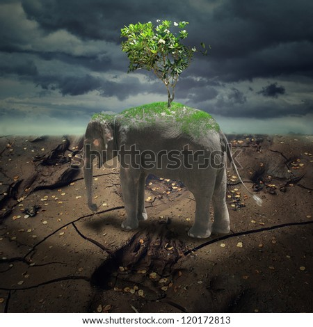 Abstract gloomy landscape with elephant and  tree, ecological concept