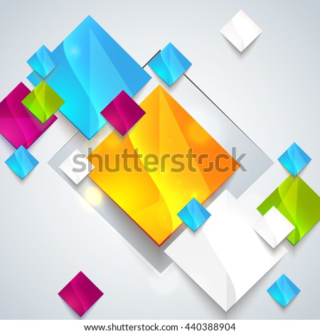 Abstract glossy geometric background. Raster illustration for your business presentation. Minimal style design for business graphic. Raster copy - stock photo