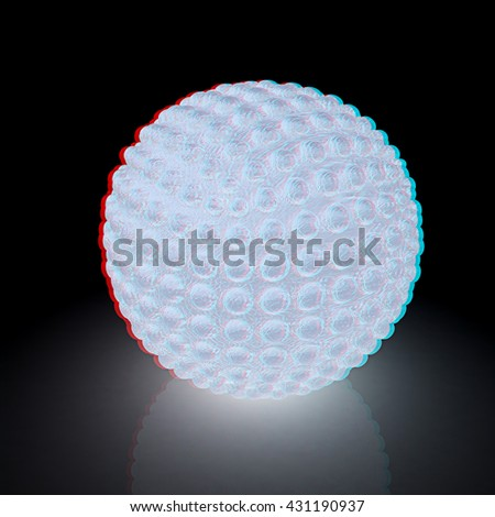 Abstract glossy sphere with pimples. On a black background. 3D illustration. Anaglyph. View with red/cyan glasses to see in 3D.