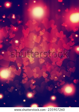 Abstract Glow Soft Hearts for Valentines Day  - stock photo