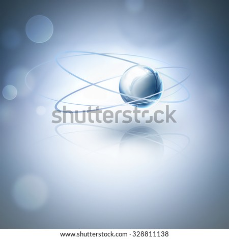 abstract glowing atom on blue background as scientific background - stock photo