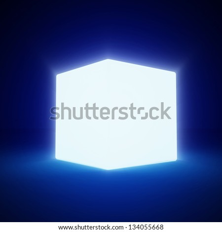 Abstract Glowing Blank Cube on blue background - stock photo