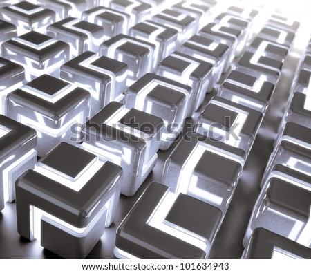 Abstract glowing 3d cubes background