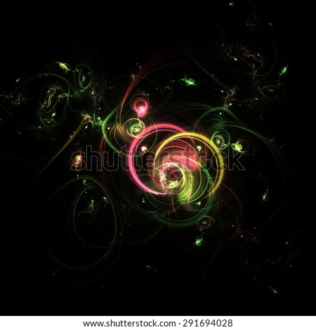 Abstract glowing fancy pattern. Colorful cosmic background with light effect, shining stars. Illustration for artwork, party flyers, posters, banners. - stock photo