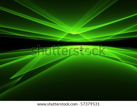 Abstract glowing green 3D fractal - stock photo