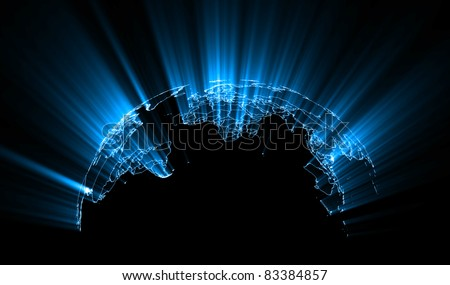 Abstract Glowing World Map