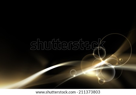 Abstract gold and black background with smooth line, wave and sparkling effect