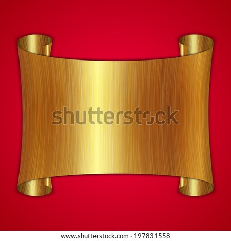 abstract gold award scroll plate on red background - stock photo