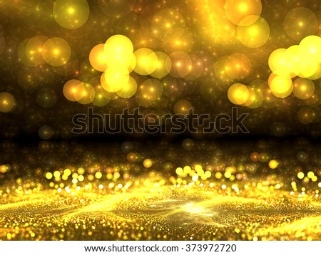 Abstract gold backgound - computer-generated image. Blurred image of gold dust or crumbs, and with the prospect of circular bokeh. Trendy fractal art. for posters, banners, backdrops - stock photo