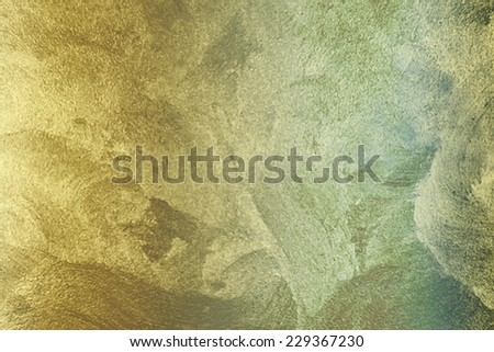 abstract gold background foil vintage paper texture layout with old light distressed sponge texture on beige cream grunge background texture design, light gold  background holiday brochure - stock photo