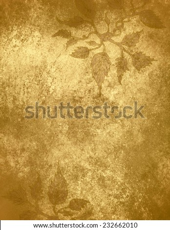 abstract gold background ivy design pattern, hand drawn vines on border of gold foil background, vintage grunge background texture, elegant Christmas wrapping paper - stock photo