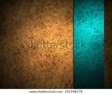 abstract gold background with blue ribbon stripe or side bar on border frame, has vintage grunge background texture design with lighting, elegant luxurious background, gold brown paper or wallpaper