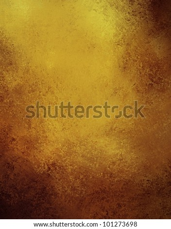 abstract gold background with brown color design on border and black vintage grunge background texture, brown gold paper for golden anniversary announcements or wedding background invitations - stock photo