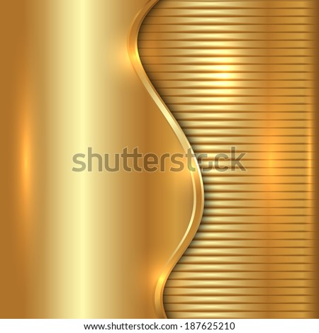 abstract gold background with curve and stripes - stock photo