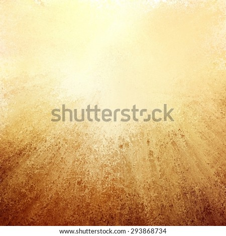 abstract gold background with streaked rays of brown grunge on bottom border, gradient yellow background with soft light and elegant design with copyspace for typography or text on top border - stock photo