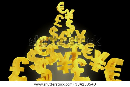Abstract gold currency signs background - stock photo