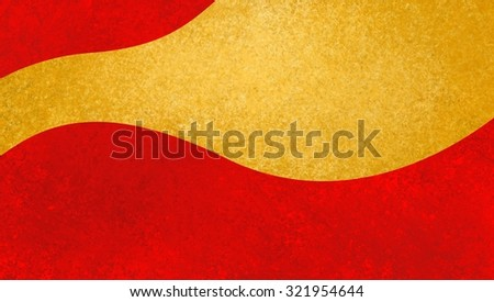 abstract gold curved speech bubble for text or announcement, blank yellow copy space for adding your own text or image on bright red background with texture - stock photo