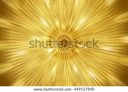 Abstract gold fractal explosion with gloss and lines - stock photo
