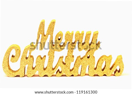 Abstract gold glitter 'merry christmas' sign isolated on white - stock photo