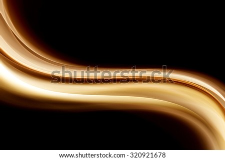 Abstract Gold Wave Black Background