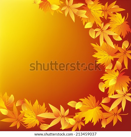 Abstract golden background with red, yellow and orange leaves. Beautiful nature wallpaper with leaf fall. Place for text.