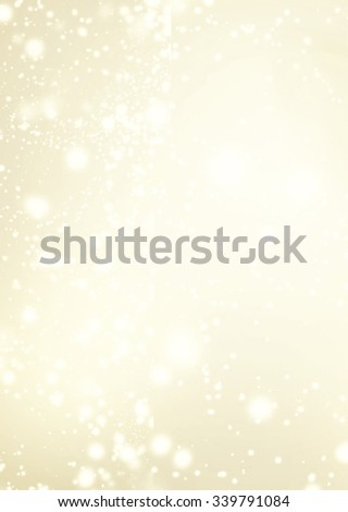 Abstract Golden Background with white Glitter Defocused Bokeh,  Blinking Stars and snowflakes. Christmas Blurred Soft colored   - stock photo