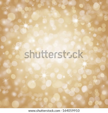 Abstract golden christmas holiday background with blinking stars - stock photo