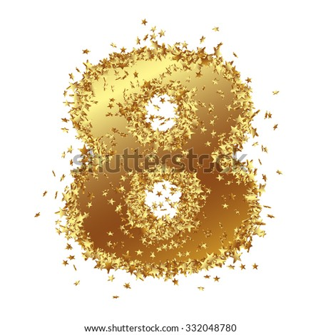 Abstract Golden Number with Starlet Border - Eight - 8 - Birthday, Party, New Years Eve, Jubilee - Number, Figure, Digit - Graphic Illustration Isolated on White Background - stock photo
