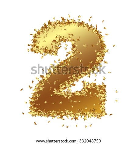 Abstract Golden Number with Starlet Border - Two - 2 - Birthday, Party, New Years Eve, Jubilee - Number, Figure, Digit - Graphic Illustration Isolated on White Background - stock photo