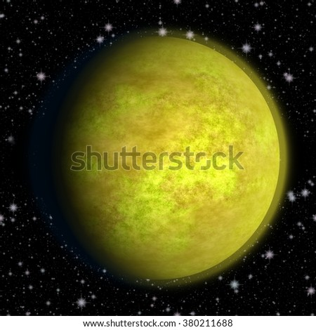 Abstract golden planet in space with stars