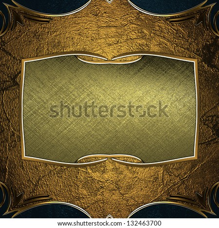 Abstract golden texture with black edges with gold trim and a plate. Template for design
