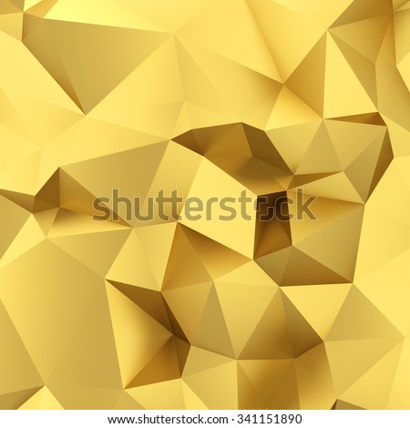 Abstract golden triangle background. 3d render - stock photo