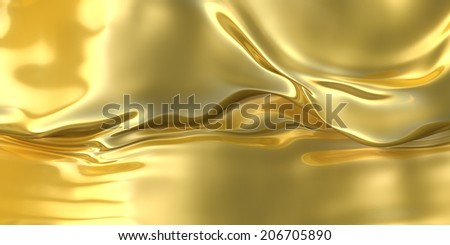 Abstract golden waved cloth background. - stock photo
