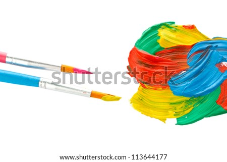 Abstract gouache paint and brushes, isolated on white