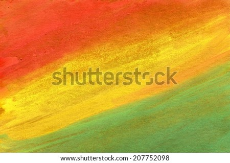Abstract gouache painted background of red, yellow and green color. - stock photo