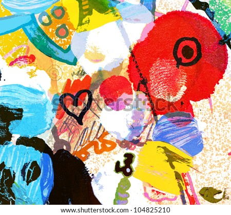 abstract graffiti collage, digital painting - stock photo