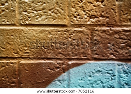Abstract graffiti on Bricks - stock photo