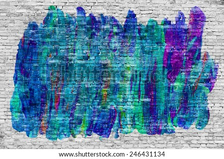 Abstract graffiti over white brick wall - stock photo