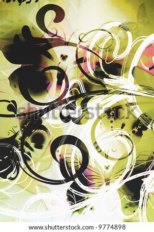 abstract  graffiti whimsical butterfly scroll with airbrused textured and gradient - stock photo